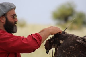 José Sarasola with a Chaco eagle