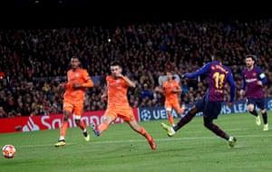Dembele scores Barcelona's fifth goal.
