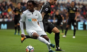 Swansea's Renato Sanches evades a tackle during a shaky debut for the Portuguese against Newcastle at The Liberty Stadium.