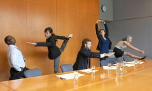 'Emote / the imperturbable power / of mountains to endure' ... executives rehearse yoga positions in a conference room.