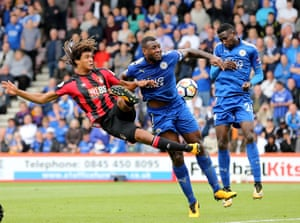 Nathan Ake and Wes Morgan clash during a Bournemouth corner as The Cheeries can only manage a 0-0 draw again Leicester at the Vitality Stadium.