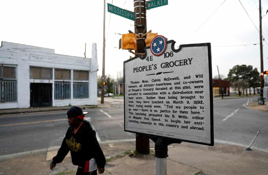 A marker on a street corner in the Soulsville neighbourhood marks the spot of the People's Grocery lynching of African-American proprietors Thomas Moss, Calvin McDowell and Will Stewart in 1892.