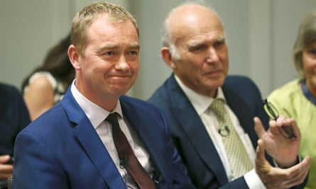 Tim Farron with new Liberal Democrat leader Vince Cable at Cable's appointment.