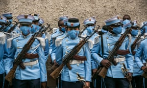 Students from the Antsi Military Academy are positioned in downtown Antananarivo on 26 June 2020 before the Malagasy military troops parade in front of the president for the traditional Malagasy Independence Day.