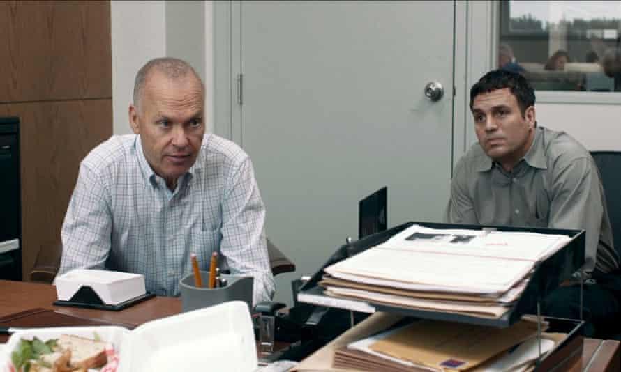 Michael Keaton and Mark Ruffalo in a scene from Spotlight.