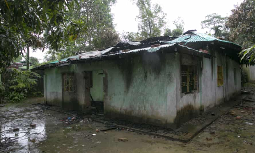 A torched house in a Rohingya refugee camp.