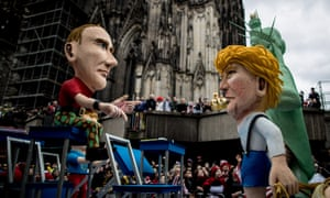 Carnival puppets of Vladimir Putin and Donald Trump in Cologne, Germany