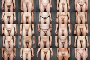Photos of 25 men showing penis and testicles, belly, hands and thighs
