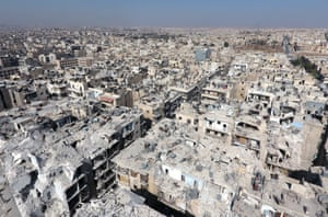 An aerial view of the buildings destroyed by the Assad regime forces and Russian army in the Tariq al-Bab neighbourhood