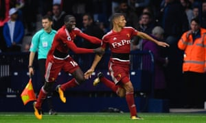 Richarlison celebrates his goal against West Brom with his Watford team-mate Abdoulaye Doucouré.