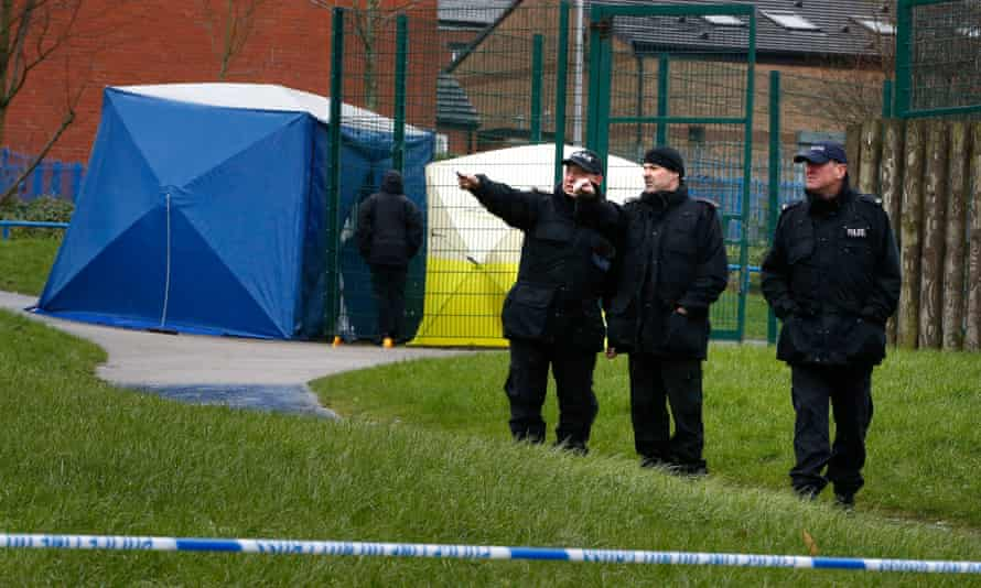 Police at the playground in Rochdale where Jalal Uddin suffered a fatal head injury