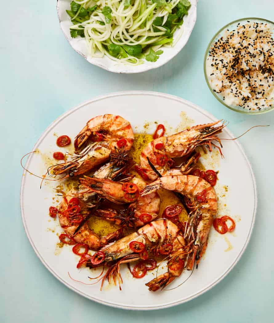 Yotam Ottolenghi's prawns in vanilla and rum butter with sticky rice and papaya pickle