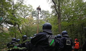 Protester on pole