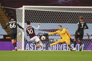 Aston Villa's Jack Grealish scores his side's seventh goal.
