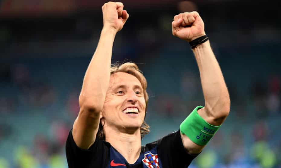 Luka Modric celebrates the win over Russia which earned Croatia a World Cup semi-final against England.