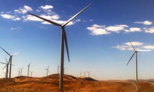 A windfarm is pictured near Burra, South Australia,