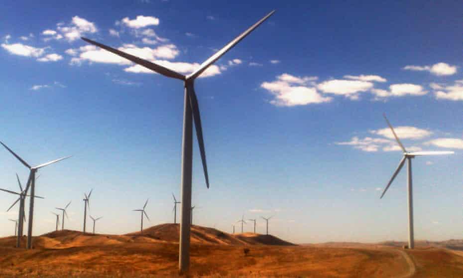 A windfarm is pictured near Burra, South Australia,