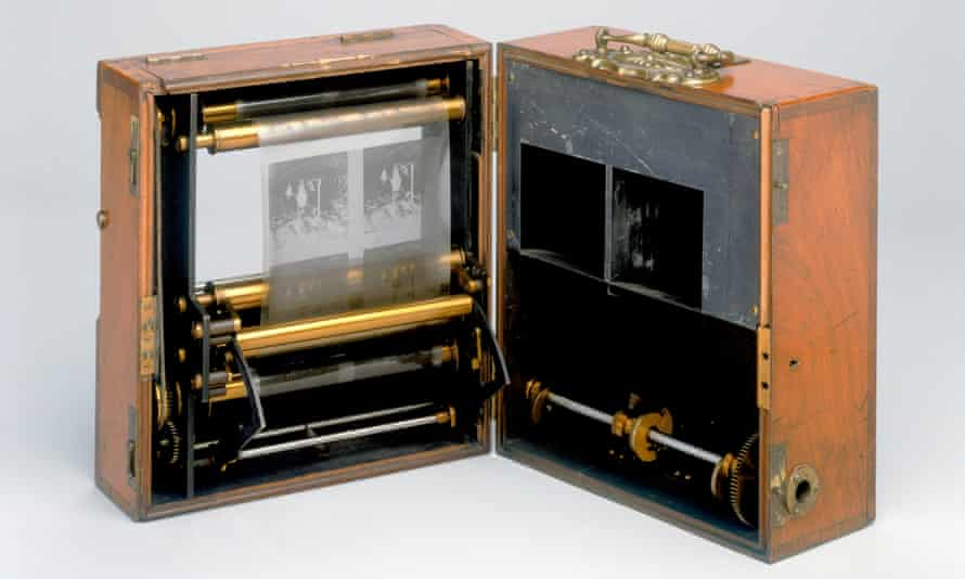 An 1890 stereo cine camera designed by Friese-Greene. It has many of the characteristics of the first moving picture cameras of 1896.