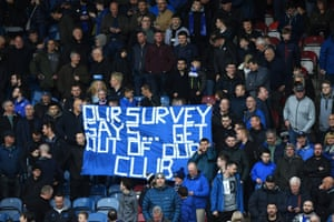 Everton fans display a banner during their game at Huddersfield last month.