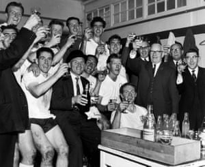 Tottenham celebrate after winning the title in 1961. The long-established record for consecutive wins within a season was the 11 they set then.