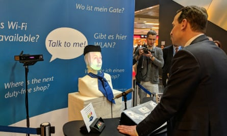 Furhat's' 'robot concierge' at Frankfurt Airport. The robot can provide flight and airport information to passengers.
