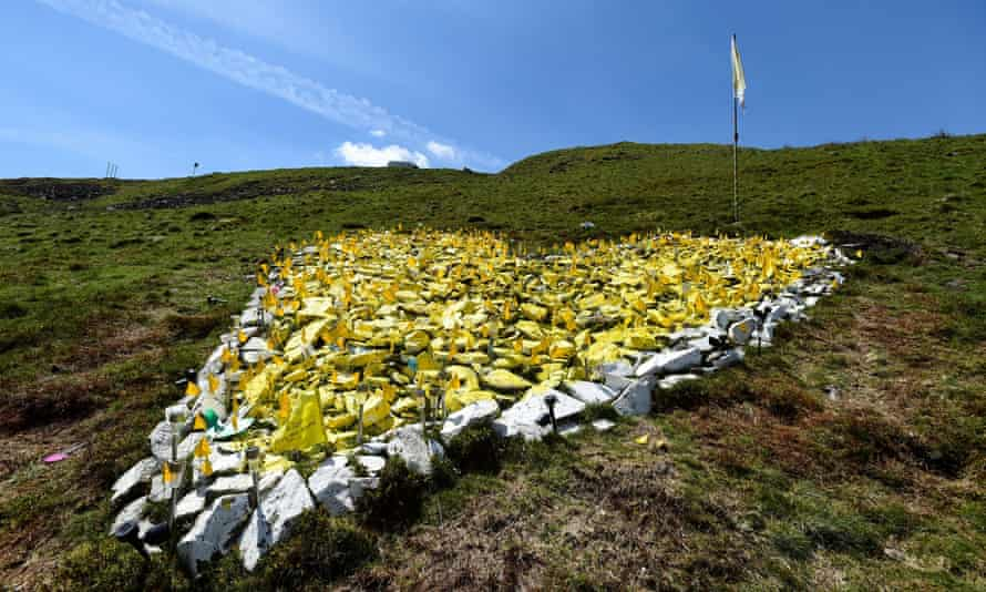 The stone heart-shaped memorial on Bwlch mountain in Treorchy, south Wales