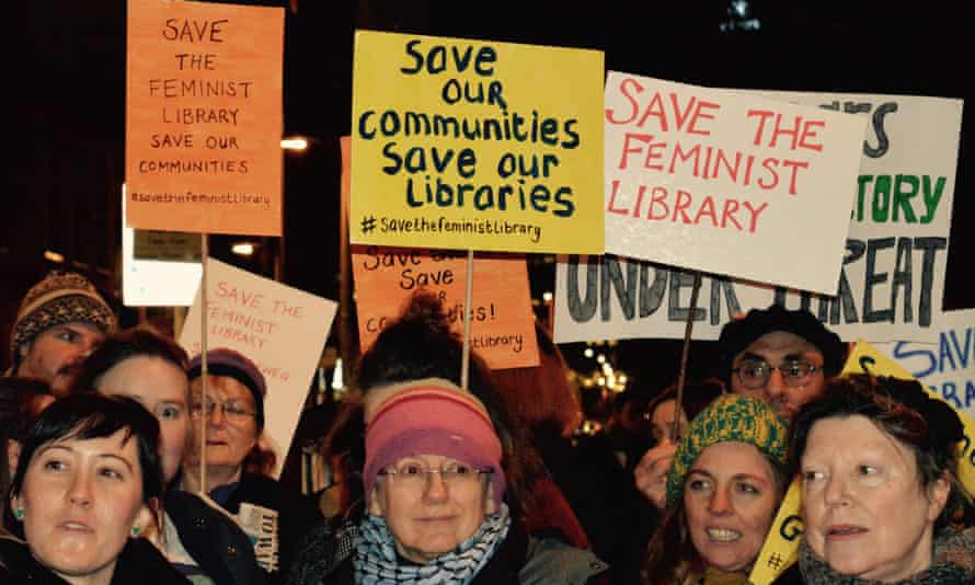 Protest to save the Feminist Library in Southwark, London