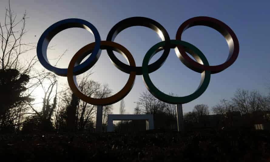 Olympic rings at the IOC headquarters in Lausanne.