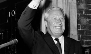 Edward Heath giving a victory wave as he arrives at 10 Downing Street in 1970.