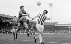 Jeff Astle, right, here challenging for the ball with Liverpool's goalkeeper Tommy Lawrence, was found to have died of an 'industrial disease'.