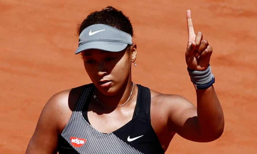 Naomi Osaka during her first-round match in the French Open last month.