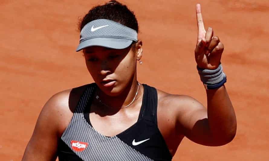 Naomi Osaka in action at Roland Garros, Paris, May 2021.