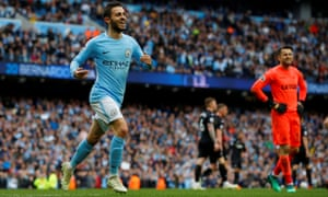 Manchester City's Bernardo Silva celebrates scoring their fourth goal.