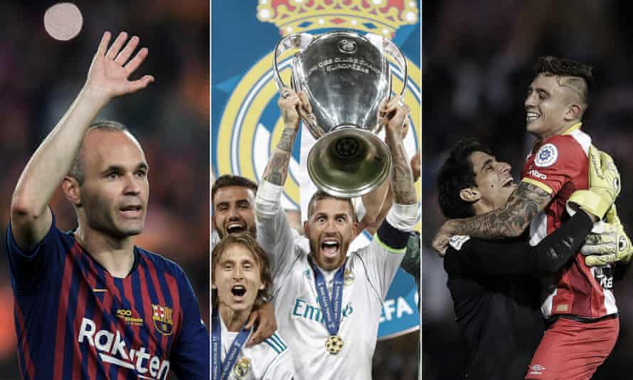 Andrés Iniesta on his final appearance for Barcelona, Sergio Ramos lifts the Champions League trophy and Girona players celebrate after the win over Real Madrid.