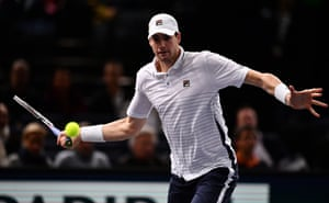Isner plays a forehand.