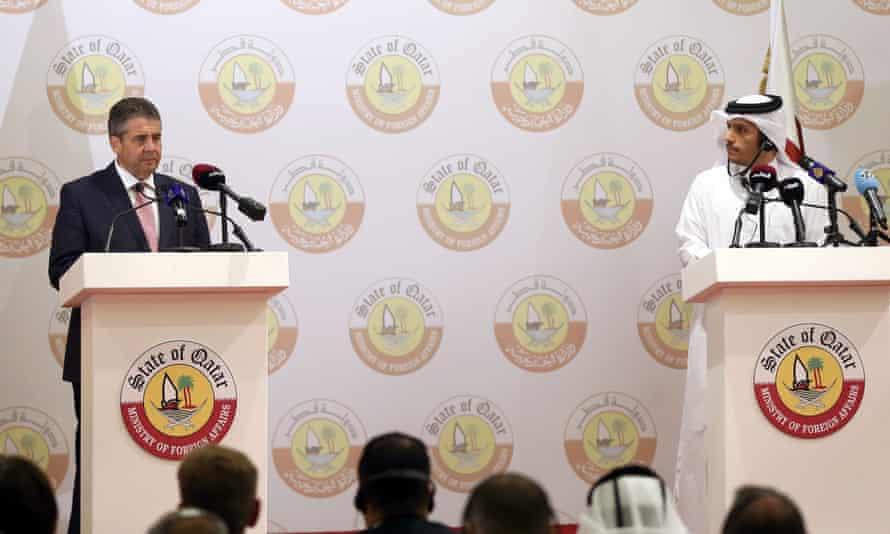 Qatar's foreign minister, Sheikh Mohammed bin Abdulrahman bin al-Thani, at a press conference with his German counterpart, Sigmar Gabriel, in Doha.