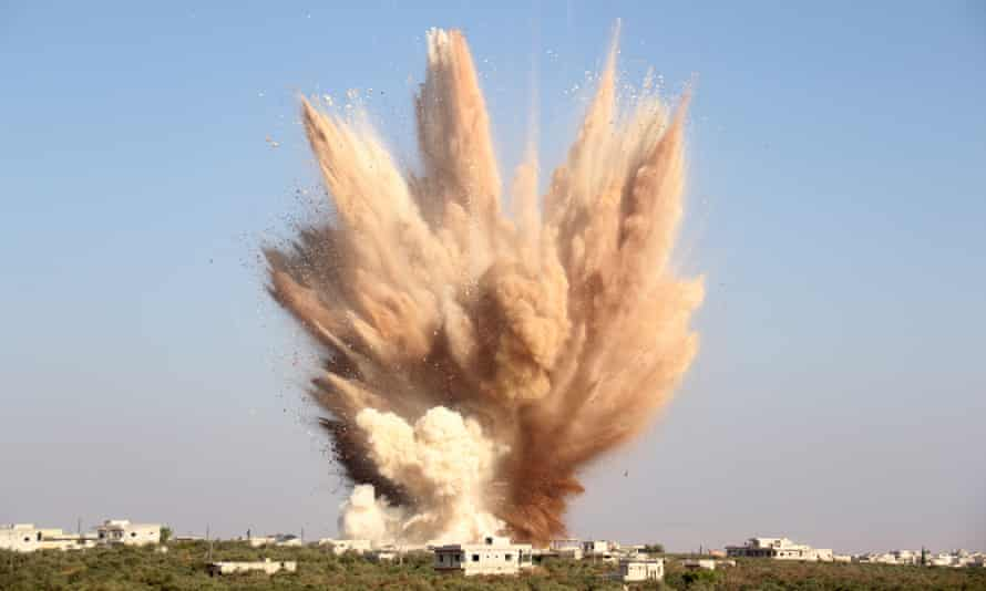 An attack on a tunnel used by forces loyal to President Assad in the village of Foua, Idlib.