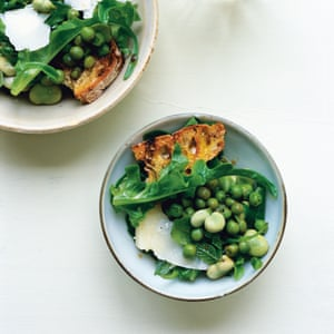 Nigel Slater's vegetarian salad of beans, peas and cheese.