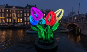 Light bulbs ... Amsterdam's Herengracht canal with festival art installation.