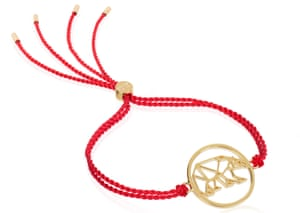 Wear to care: Ellie Goulding red cord WWF bracelet £59, daisyjewellery.com.