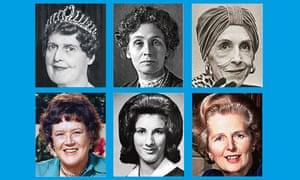 Composite of six women's faces for quiz question. Top row, from left: Florence Foster Jenkins; Emmeline Pankhurst; Karen Blixen. Bottom row, from left: Julia Child; Karen Silkwood; Margaret Thatcher.