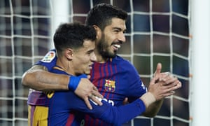 Luis Suárez celebrates with Philippe Coutinho after scoring Barcelona's fourth goal.