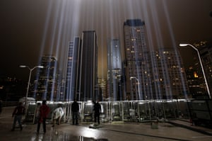 The beams of the Tribute in Light are adjusted in preparation for the 10th anniversary of the September 11 terrorist attacks in New York.