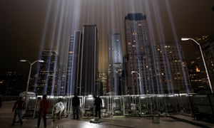 Workers adjust beams of the Tribute in Lights ahead of the tenth anniversary of the September 11 terrorist attacks on 7 September 2011.