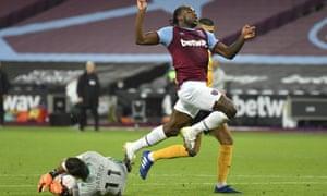 West Ham's Michail Antonio leaps above Wolverhampton Wanderers' goalkeeper Rui Patricio.