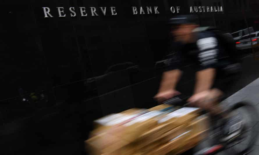 A bike courier outside the reserve bank in Sydney