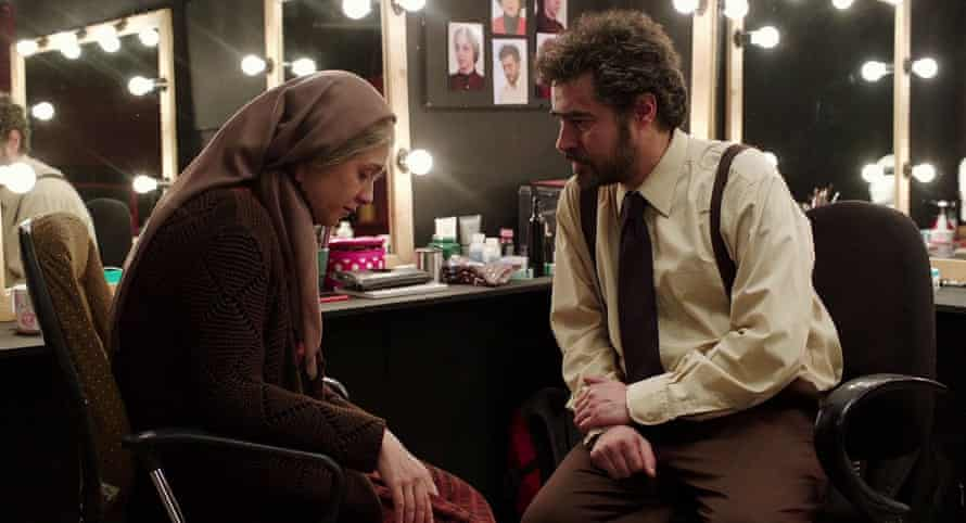 Rana and Emad backstage, in character as Linda and Willy Loman