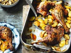 Duck legs with potatoes, apples and brown cabbage by Trine Hahnemann. T