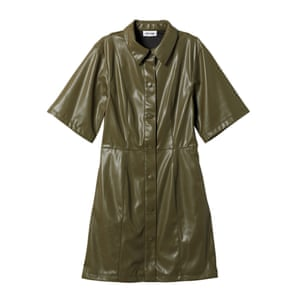 Olive faux leather dress, £45, weekday.com.