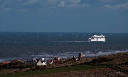 A P&O ferry heads the French port of Calais , in Sangatte, France, January 28, 2020. Picture taken January 28, 2020. REUTERS/Pascal Rossignol